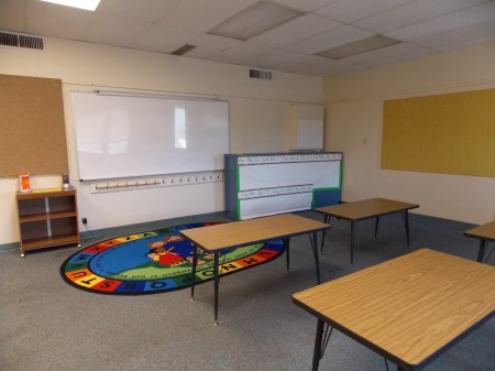 Empty first grade classroom.  From A Day in First Grade blog.