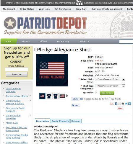 """Pledge shirt"" from the so-called Patriot Depot; putting the flag on shirts like this is a violation of the U.S. Flag Code."