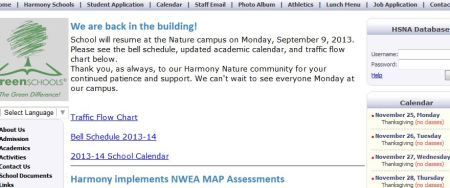 Screen capture of announcement that school will be held in the school building starting September 9, 2013.
