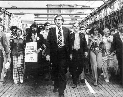 Union leader Albert Shanker marching with teachers.  Undated photo via PBS NewsHour