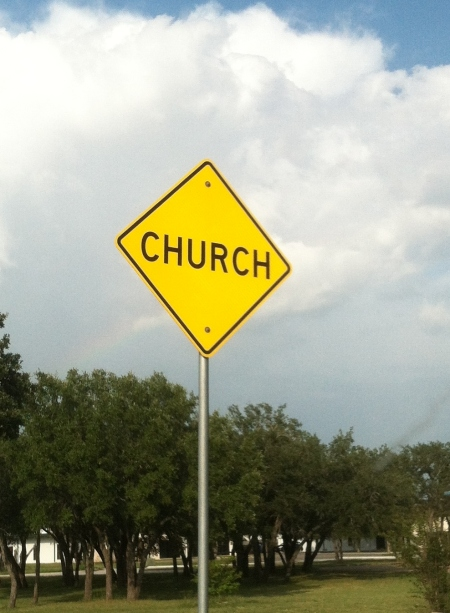 """Church"" warning sign in Burnet, Texas"