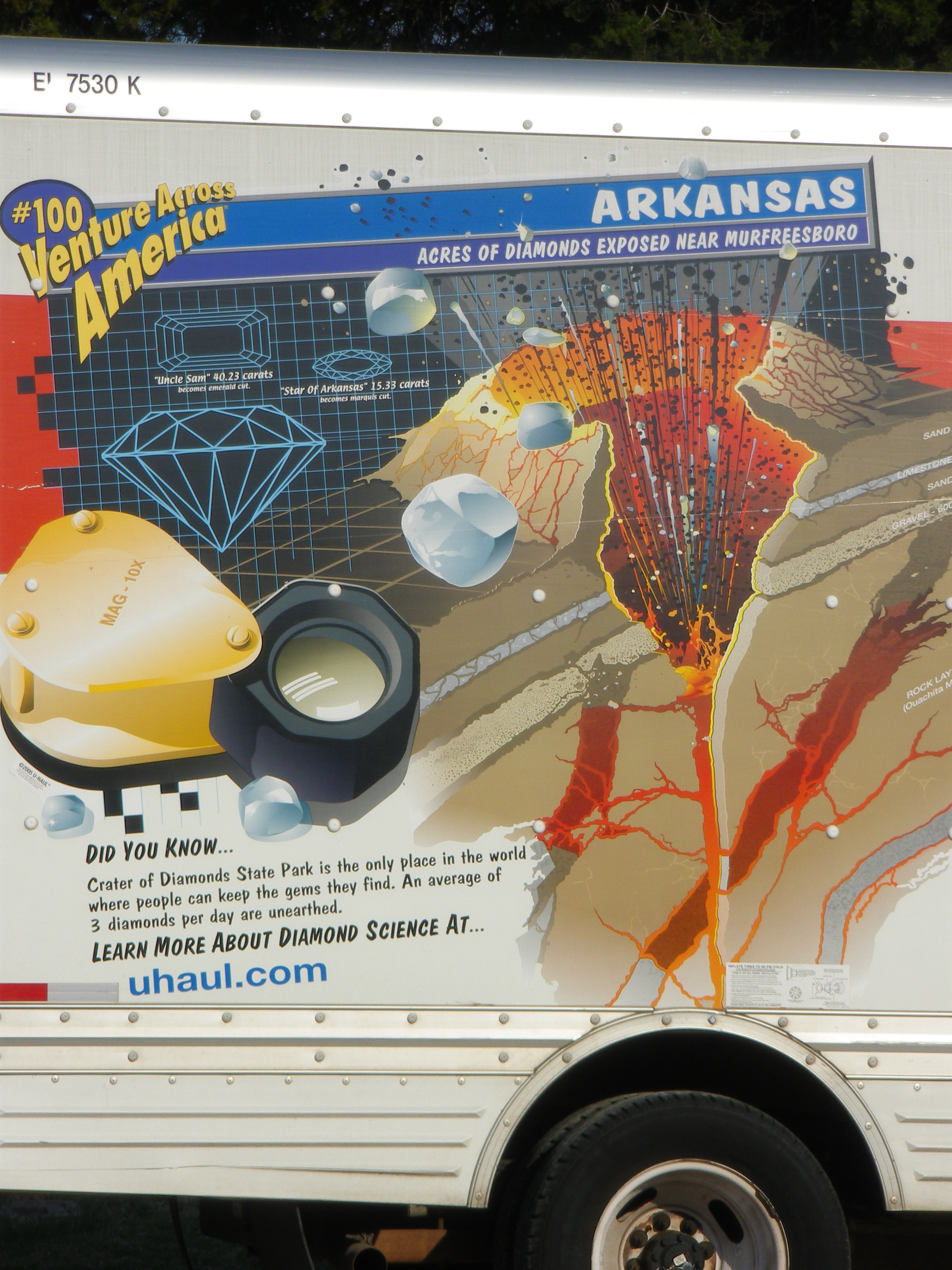 Detail:  U-Haul truck features a graphic description of the geology and information about Arkansas's Crater of Diamonds State Park.