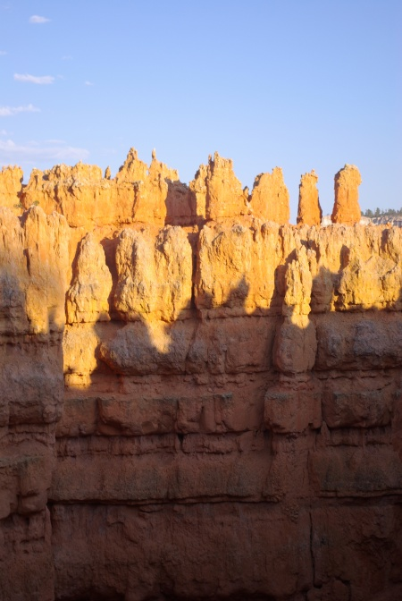 Sundown shadows of hoodoos on pinnacles, Bryce Canyon National Park, 2008. Photo by Ed Darrell