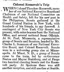 Account of Col. Theodore Roosevelt III's trip from New York to Seattle, in 1932 -- with Scouts meeting him at almost every stop.  Boys' Life, April 1932, page 58.