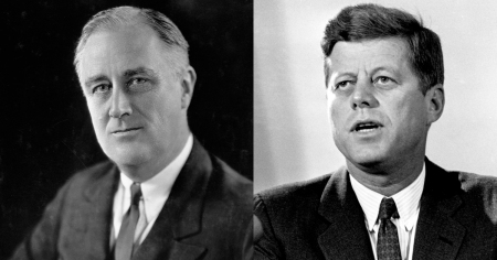 FDR, left, and JFK: Kennedy took the opportunity of Roosevelt's birth anniversary in 1961, January 29, to urge Americans to volunteer to serve the nation, to serve as the Minutemen did, voluntarily, where the nation needs help, and in support of the nation. Image from Ring of Fire Network