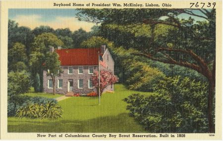 Scout camp with home of Wm McKinley, circa 1940 post card from Boston PL