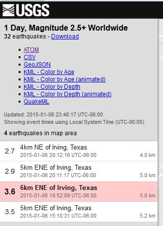 Screen capture of USGS reports of four earthquakes in or near Irving, Texas, on January 6, 2014