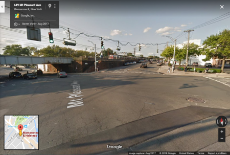 Bridge of Metro North in Mamaroneck, New York, at the intersection of Mamaroneck and Halstead Avenues, where Mt. Pleasant Ave joins. Google View image.