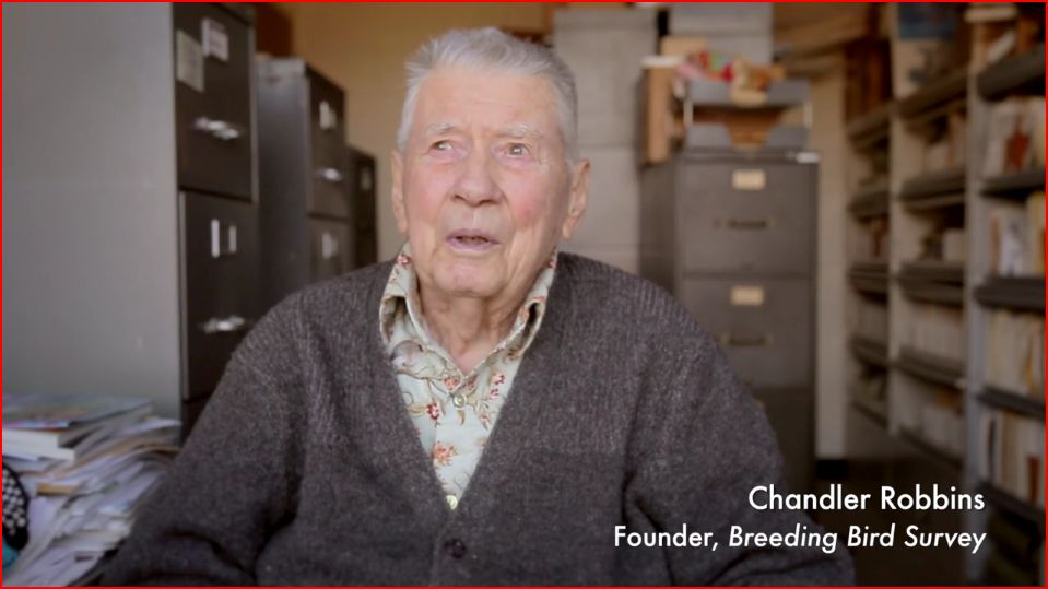 Chandler Robbins, founder of the Audubon Christimas Bird Count, screen capture from Audubon film