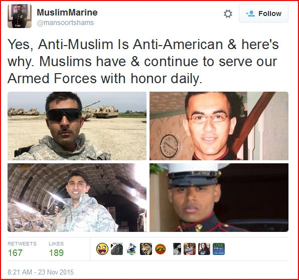 "Tweet showing several Muslims serving in U.S. military, in response to calls for Muslims to get ""special ID"" or be tracked on a ""special registry."""
