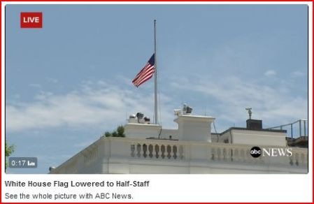 White House flag lowered to half-staff, honoring victims of the attacks in Nice, France. Screen capture of ABC News video