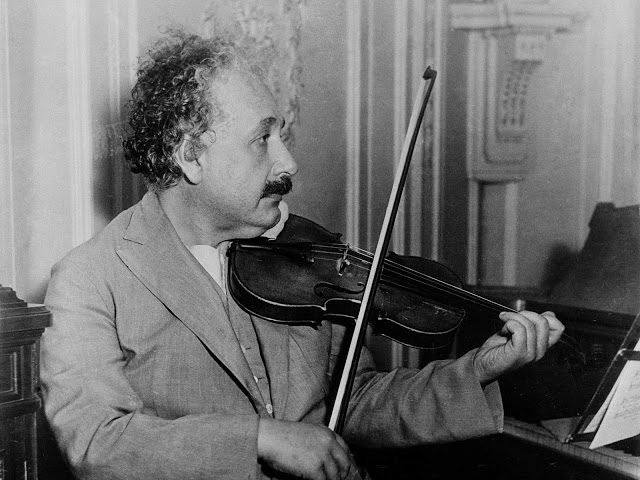 Einstein playing his violin in 1931, aboard the S.S. Belgenland, travelling from New York to San Diego. Vintage Everyday image.