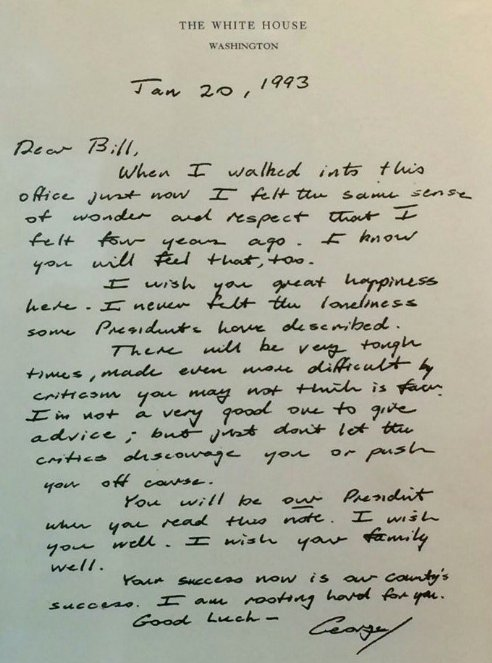 George H W Bush s letter to Bill Clinton reminds us what we have