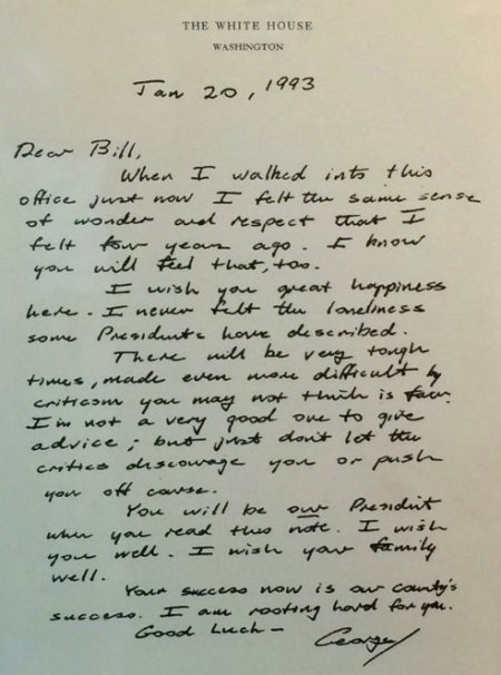Letter from President George H. W. Bush to President Bill Clinton, January 20, 1993. Image via NBC News.