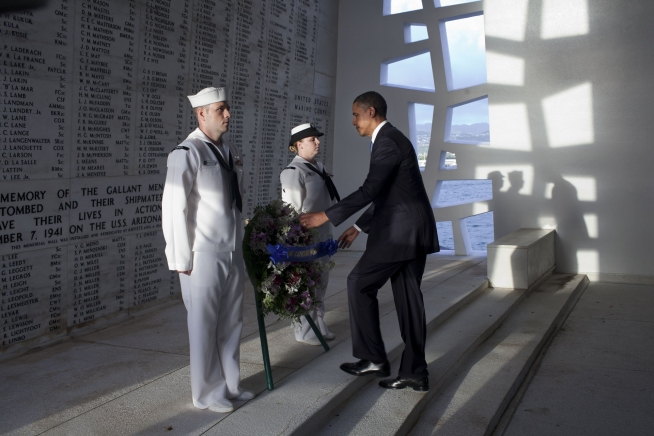 President Barack Obama places a wreath at the USS Arizona Memorial, part of the World War II Valor in the Pacific National Monument, in Pearl Harbor, Hawaii, Dec. 29, 2011. (Official White House Photo by Pete Souza)