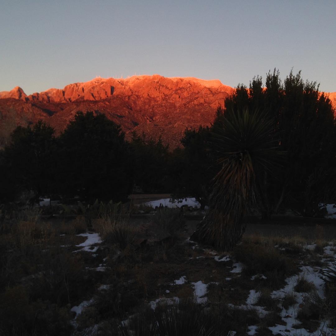 Sandia Peak on a frosty evening, from Mark Boslough
