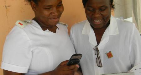 Health workers in Botswana use a cell phone to report malaria diagnoses and commencement of treatment, enabling real-time tracking of malaria outbreaks and rapid public health service responses. Photo from MalariaNoMore.