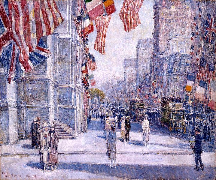 """Early Morning on the Avenue in May 1917,"" Frederick Childe Hassam, oil on canvas, 1917; Addison Gallery of American Art"