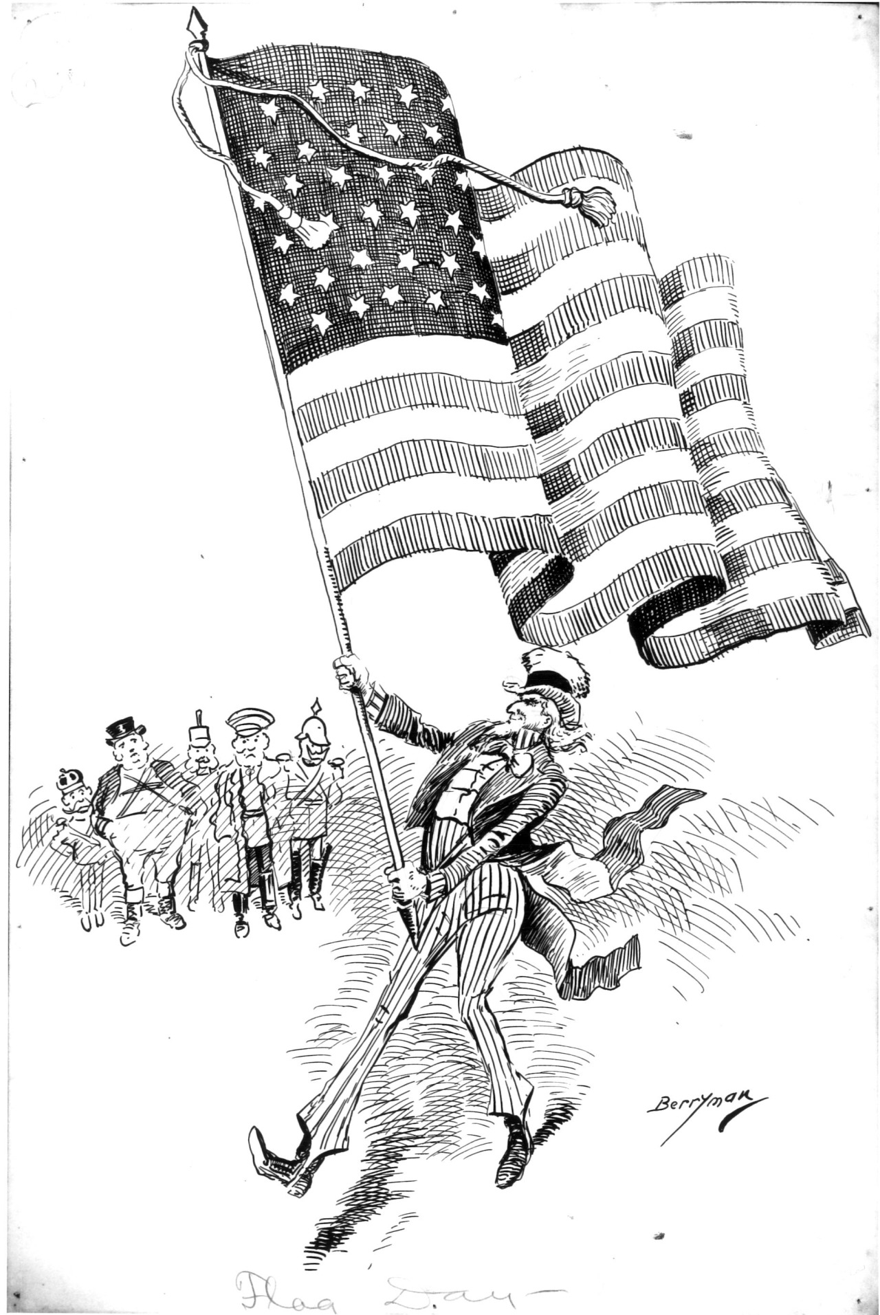 """National Archives caption: This illustration entitled, """"Flag Day - 1900"""", by cartoonist Clifford Berryman, which appeared in the Washington Post on June 14, 1900, depicts the growth of American influence in the world as the European powers watch in the background as new century is ushered in."""