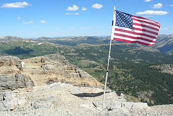 U.S. flag on American Flag Mountain, near Taylor Park, Colorado. Photo from Hobo Jeepers.