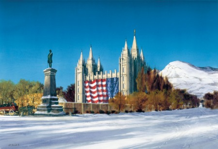 AlRounds.com, a painting and image sale site, have this painting for sale; it shows the Latter-day Saints' Temple in Salt Lake City, festooned as it was through 1896 with a giant U.S. flag -- hung backwards by today's standards. Painting probably by Al Rounds.