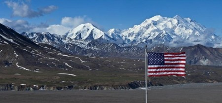 U.S. flag flying at the Eielson Visitor Center, Denali National Park, Alaska. National Park Service image