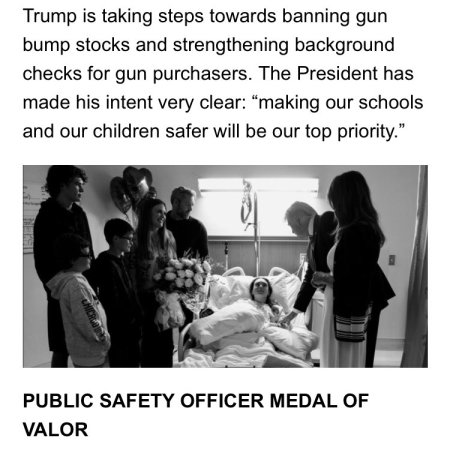 Trump's repugnant campaign letter, page 2 -- showing the offensive photo of Trump with a shooting victim. Tradition, and in some places campaign laws, forbid use of such victim photos to raise money or campaign.