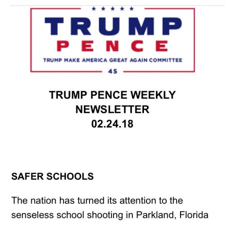 Trump campaign newsletter first page. Image via @mattmfm