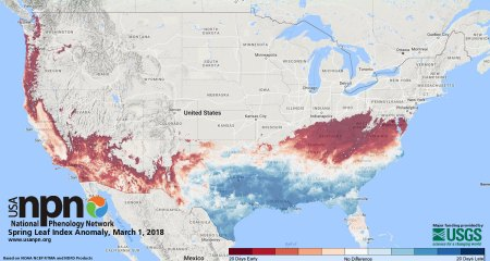A map of plant growth, including the emergence of leaves and blooms, updated daily tracks the arrival of spring compared to normal seasonal timing over a 50-year period. USGS