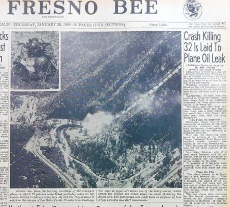 Fresno Bee front page with headline of the Los Gatos Canyon crash, January 29, 1948