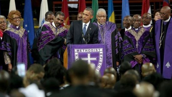 """President Obama singing """"Amazing Grace"""" in Charleston, South Carolina. This may be a wire service photo, but credit was stripped off."""