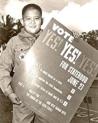 """""""On June 14, 1959, Boy Scout Milton Motooka helped get the word out for Hawaii's statehood plebiscite to be held 13 days later. A new documentary will focus on Hawaii's statehood."""" Hawaiians voted yes in the plebiscite, and statehood was declared two months later. (Whatever became of Scout Motooka? See comments on last year's post.)"""