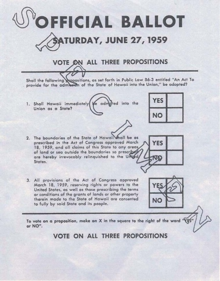 Specimen copy of the ballot used by Hawaiians in a June 27, 1959, plebiscite to approve conditions of statehood. Image from Hawaii Magazine, 2009