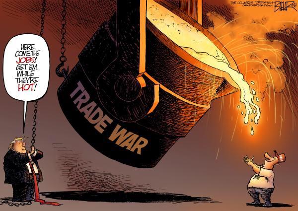 Cartoon on trade wars by Mike Beeler.