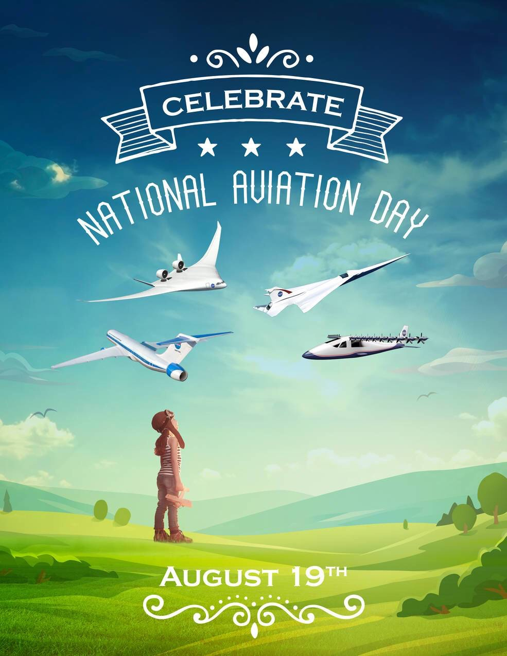 "NASA's poster for National Aviation Day 2016. A young girl looks up at some of the experimental ideas for future aviation. NASA said: ""It's an exciting time for aviation, with potential NASA X-planes on the horizon and a lot of new technologies that are making airplanes much more Earth friendly. Use National Aviation Day to excite and inspire the young people you know about exploring aeronautics as a future career. Credits: NASA / Maria C. Werries"""