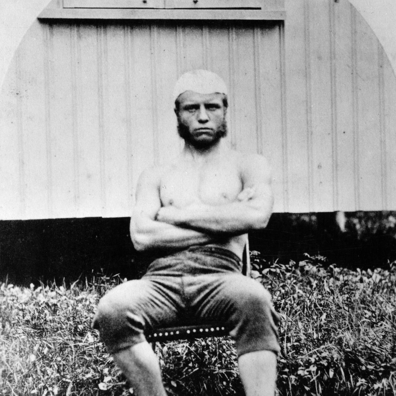 Young Theodore Roosevelt, as a boxer and wrestler at Harvard University. Harvard University image.