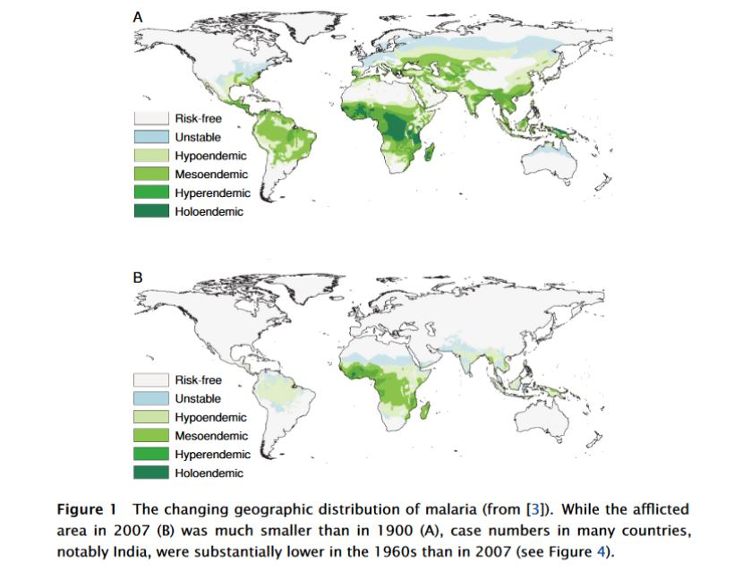 Malaria distribution was greatly reduced in the 20th century, reversing centuries of spreading. But malaria persisted into the 21st century. DDT helped reduce malaria, but the U.S. ban on DDT did not cause a rise in malaria infections or deaths. From a paper by Michael Palmer, M.D,. at Waterloo University.
