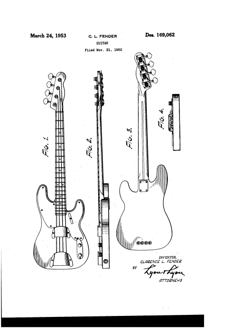 "Patent for the first electric bass built by the Fender company, March 24, 1953. Clarence L. Fender (Leo Fender) claimed a patent on the ""ornamental design"" of the ""guitar."" I see no mention that it's a bass. Interesting."