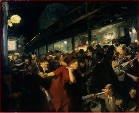 "John Sloan, ""Election Night"" 1907 Oil on canvas; University of Rochester"