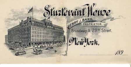 A postcard features the Sturtevant House in the 1890s, at Broadway and 29th Street. The hotel closed in 1903, the building no longer remains. Pinterest image.