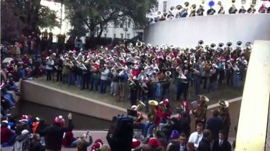 Tuba Christmas Dallas 2013, at Thanksgiving Square. Screen capture from YouTube