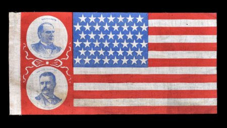 Rare 1900 campaign flag featuring portraits of President William McKinley and Vice President nominee Theodore Roosevelt. Such a display is contrary to the U.S. Flag Code today, but in 1900 there was no flag code, and not really much solid regulation on U.S. flags. Bonsell/Americana image.