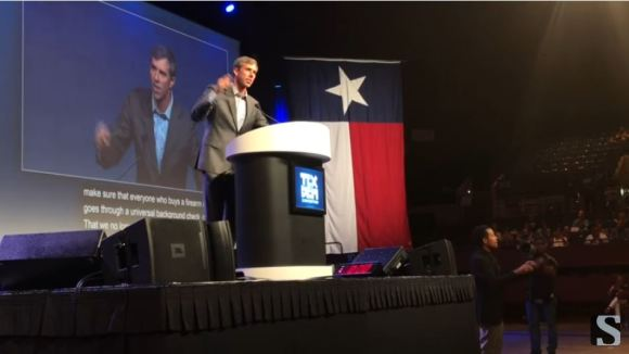 Beto O'Rourke keynote at the Texas State Democratic Party Convention in Fort Worth, in June 2018. Fort Worth Star-Telegram video, screen capture.