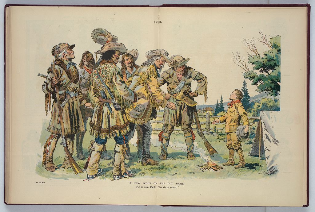 """""""A New Scout on the Old Trail,"""" """"Put her there, Pard! You do us proud."""" Image by Crawford Will, June 5, 1912; published by Keppler & Shwarzmann"""