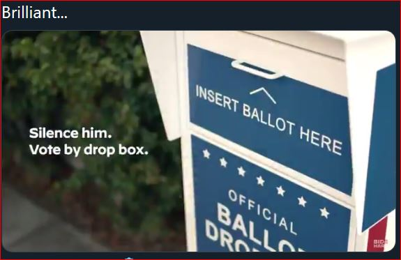 "Screen capture from Joe Biden ad, ""Silence him. Vote by drop box."""