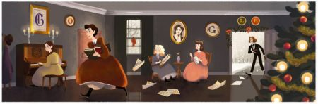 Google Doodle in 2016 for Louisa May Alcott's birthday on November 29.
